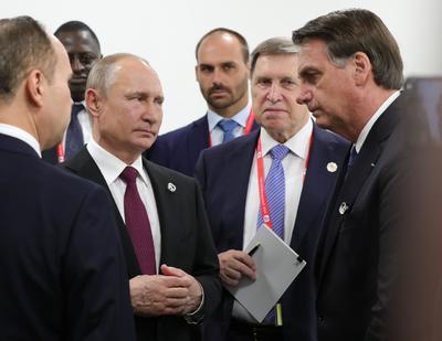 El presidente Vladímir Putin y su homólogo Jair Bolsonaro.