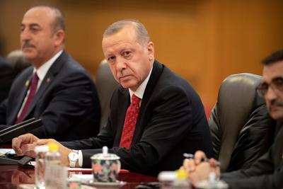 Erdogan está acompañado de una delegación turca.