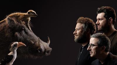 Seth Rogen (Pumba), Billy Eichner (Timón) y John Oliver (Zazú)