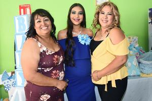 04072019 FIESTA DE CANASTILLA.  Luisa Salas Maldonado con Elizabeth Maldonado y Victoriana López en el baby shower que le organizaron con motivo del próximo nacimiento de su bebé.