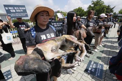 Decenas de personas se manifestaron en contra del consumo de carne de perro.