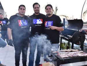 04082019 PARRILLADA.  Edgar Romero, Mario Álvarez y Roberto Tovar.