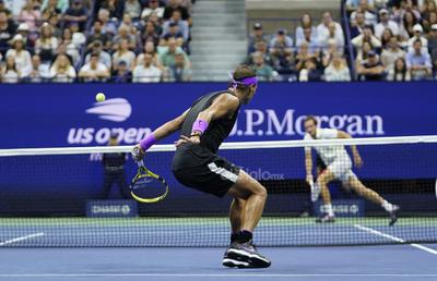 US Open Tennis  Rafael Nadal, of Spain, returns a shot to Daniil Medvedev, of Russia, during the men's singles final of the U.S. Open tennis championships Sunday, Sept. 8, 2019, in New York. (AP Photo/Eduardo Munoz Alvarez)