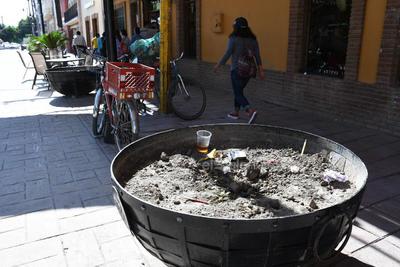 Mala imagen. Algunos maceteros, sin plantas, son utilizados como basureros por los ciudadanos.