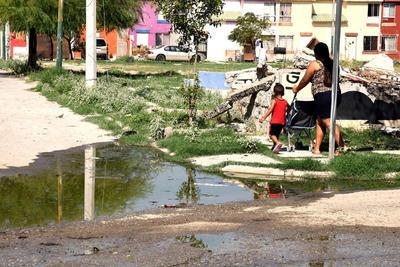 Aguas verdosas. En algunas esquinas de la colonia Monte Real, hay presencia de aguas verdes, mismas que representan un riesgo sanitario para los habitantes.