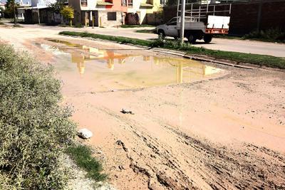 Se vuelve lodo. El problema de agua estancada lleva ya varios meses en los que en la avenida del Pedregal entre calle del Maíz y calle de la Caña, las vías ya están enlodadas.