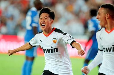 Kang In, del Valencia CF, celebra su anotación ante Getafe CF.