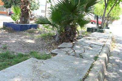 Daños. No solo es la acumulación de basura, la banqueta también registra daño, que demuestra el abandono en el que está el espacio público y pese a que se ha solicitado el mejoramiento no ha habido respuesta.