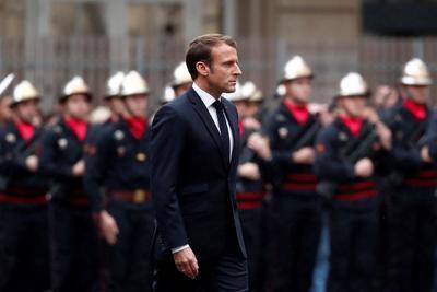 El presidente francés encabezó la ceremonia.