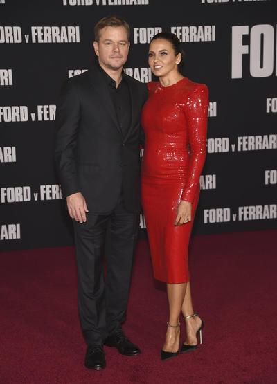 Matt Damon y Luciana Barroso LA Premiere of Ford v Ferrari