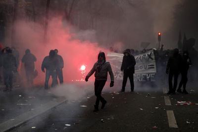 Protestan contra la reforma de las pensiones propuesta por el Gobierno del presidente, Emmanuel Macron.