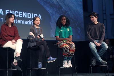 Thunberg habló a los asistentes en la Cumbre del Clima de Madrid.