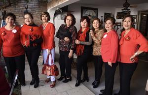 16122019 FIESTA DECEMBRINA.  Silvia, Lupita, Ana María, Oty, Silvia Rosa, Coco, Chayito y Juanis.