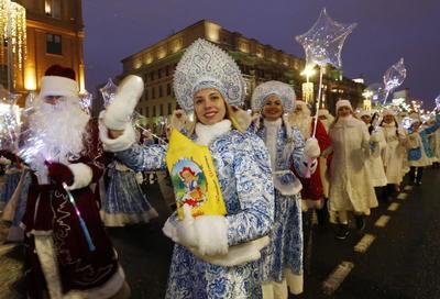Desfile de Año Nuevo en el centro de Minsk, Bielorrusia.