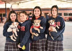 04022020 María, con su mascota, Nova; Luisa, Sarahí y su perrito, Hippo, Sofía y Doches.
