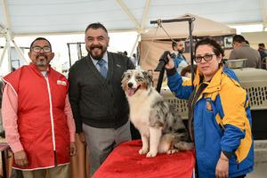 10022020 CONCURSO DE BELLEZA CANINA.  Ángel Quirino, Fernando Martínez, Laura Rodríguez y la mascota La Reyna del Sur.