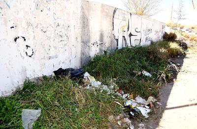 Grafiti, basura y maleza en la constante en varios puntos de la colonia, por lo que los vecinos hacen el llamado para que se realicen brigadas de limpieza y de ser posible que se apliquen sanciones.