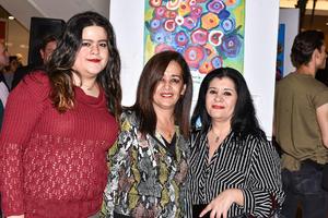 22022020 EXPO DE PINTURA.  Mariana Villarreal, Charo Villarreal y Ivonne Sarraf.
