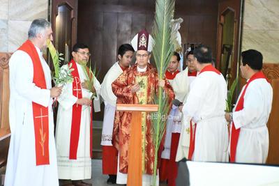 Semana santa domingo de ramos     Obispo Luis Martín barraza celebración de misa