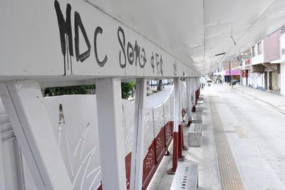 Por todos lados. Los grafiteros han dejado su huella también en los distintos parabuses, los cuales lucen abandonados y sin ningún tipo de vigilancia.