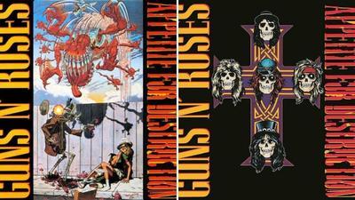 APPETITE FOR DESTRUCTION: A fines de los ochenta Guns N' Roses presentó en esta portada un dibujo en que se veía a una mujer violada por un robot. Muchas tiendas se rehusaron a exhibir el material y fue cuando salió la portada clásica con la cruz y cinco calaveras.