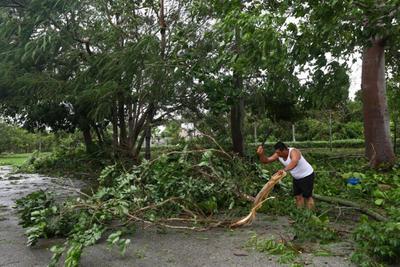 Diego Martínez es otro de los vecinos que salió temprano a ver las afectaciones de Delta y, para su sorpresa, los vientos del huracán hicieron que un árbol cayera sobre su vehículo.