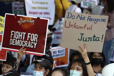 Protestan contra nuevas elecciones en Myanmar