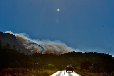 Combaten incendio forestal en Sierra de Arteaga