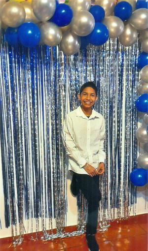 21032021 Raúl Fernando Estrada Cruz cumpliendo sus 14 años de edad el pasado 23 de febrero.