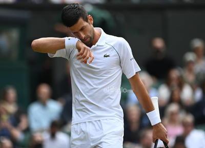 Wimbledon Championships 2021  Wimbledon (United Kingdom), 11/07/2021.- Novak Djokovic of Serbia reacts during the men's final against Matteo Berrettini of Italy at the Wimbledon Championships, Wimbledon, Britain 11 July 2021. (Tenis, Italia, Reino Unido) EFE/EPA/NEIL HALL EDITORIAL USE ONLY DEP Tenis WIMBLEDON BRITAIN TENNIS GRAND SLAM 2021 United Kingdom