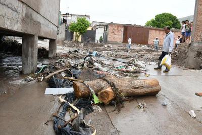 Hasta el tronco. Este pesado tronco de un árbol fue arrastrado junto con un sinnúmero de desechos que las personas tiran en el arroyo que atraviesa varias colonias del poniente de Torreón.