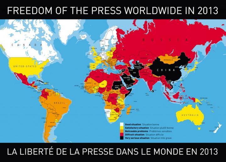 Revelan mapa mundial para ejercer periodismo