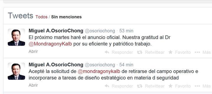Oficilizará Osorio Chong renuncia de Mondragón el martes