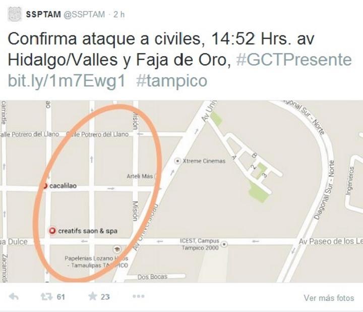 Tamaulipas abre cuenta de Twitter para alertar de violencia