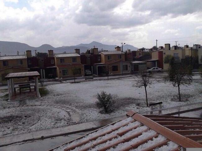 Reportan caída de granizo en Coahuila