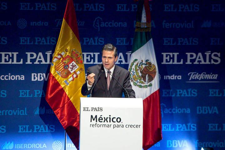 Presume EPN en España que violencia bajó un 25%