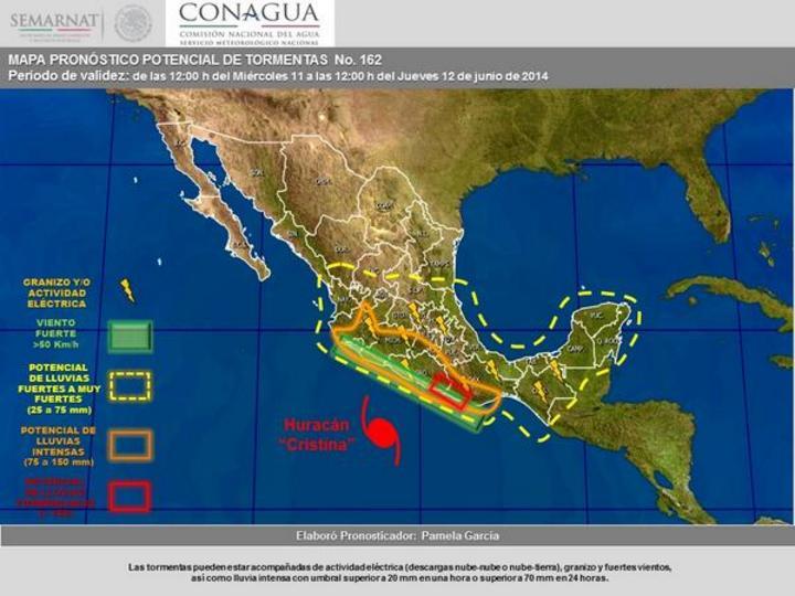 Alertan sobre fuertes lluvias en 16 estados por
