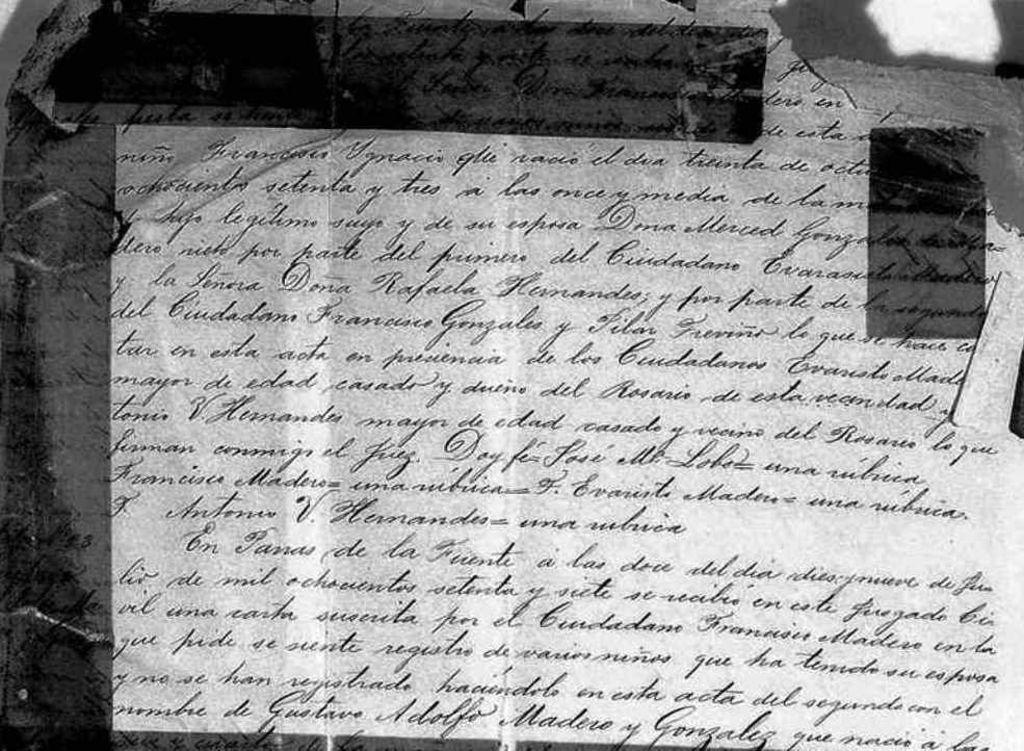 Noticias del nacimiento de Don Francisco Ignacio Madero González