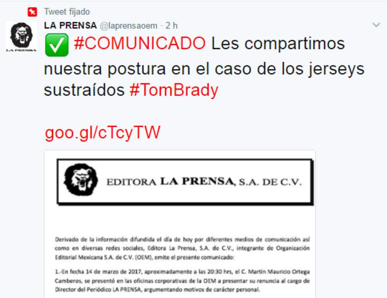 La Prensa ofrece disculpas por el robo de los jerseys de Tom Brady