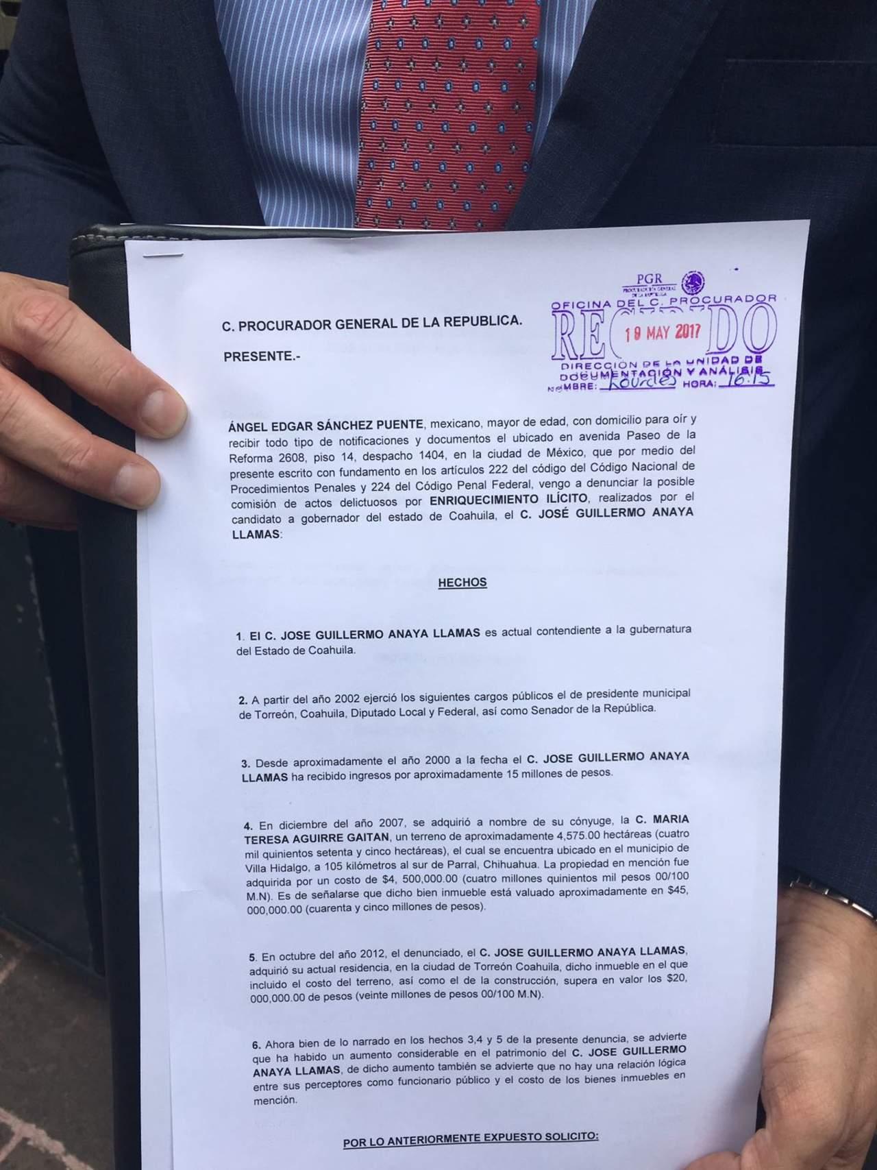 Partido Joven denuncia a Guillermo Anaya por enriquecimiento ilícito