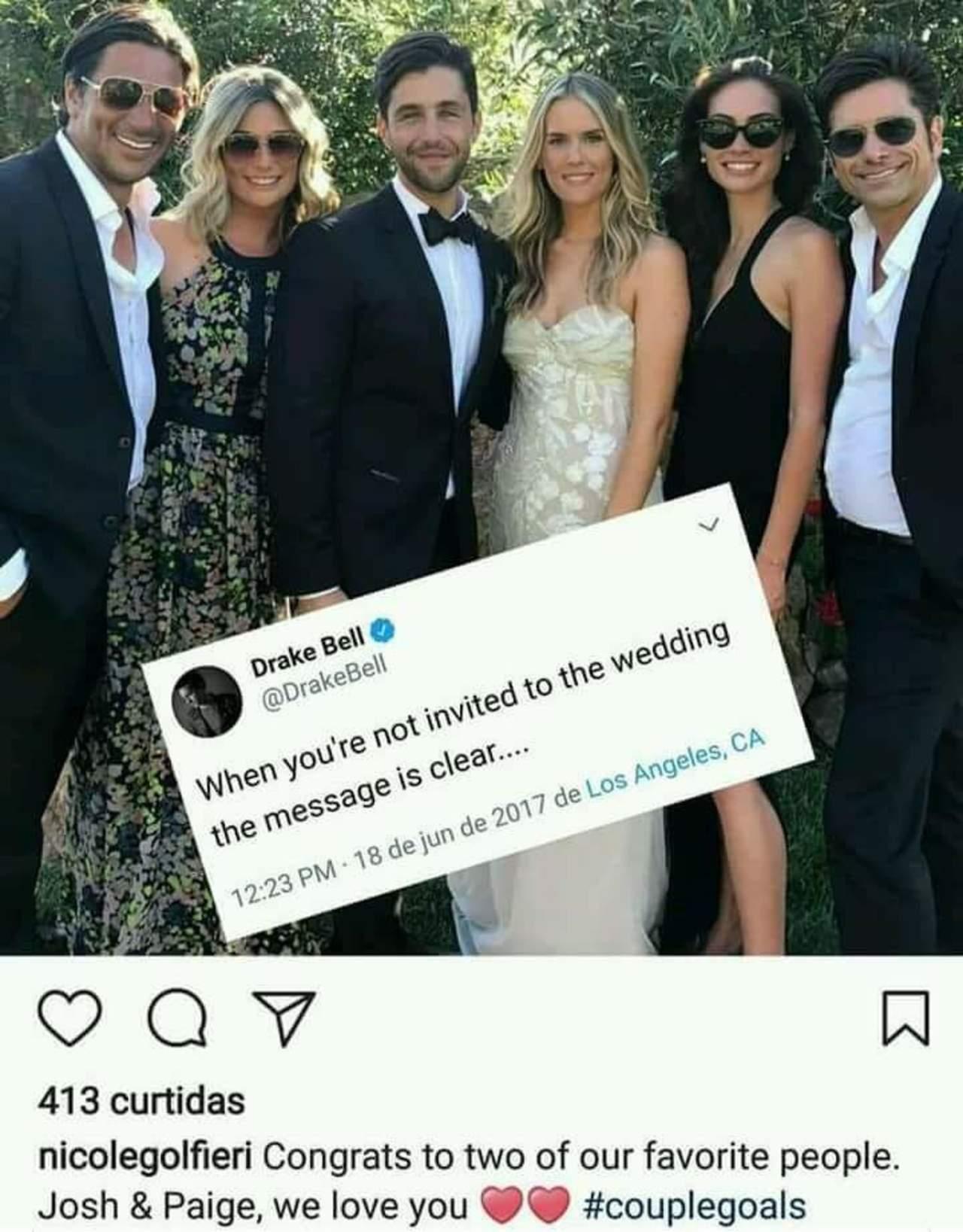 Josh Peck se casa y no invita a Drake Bell