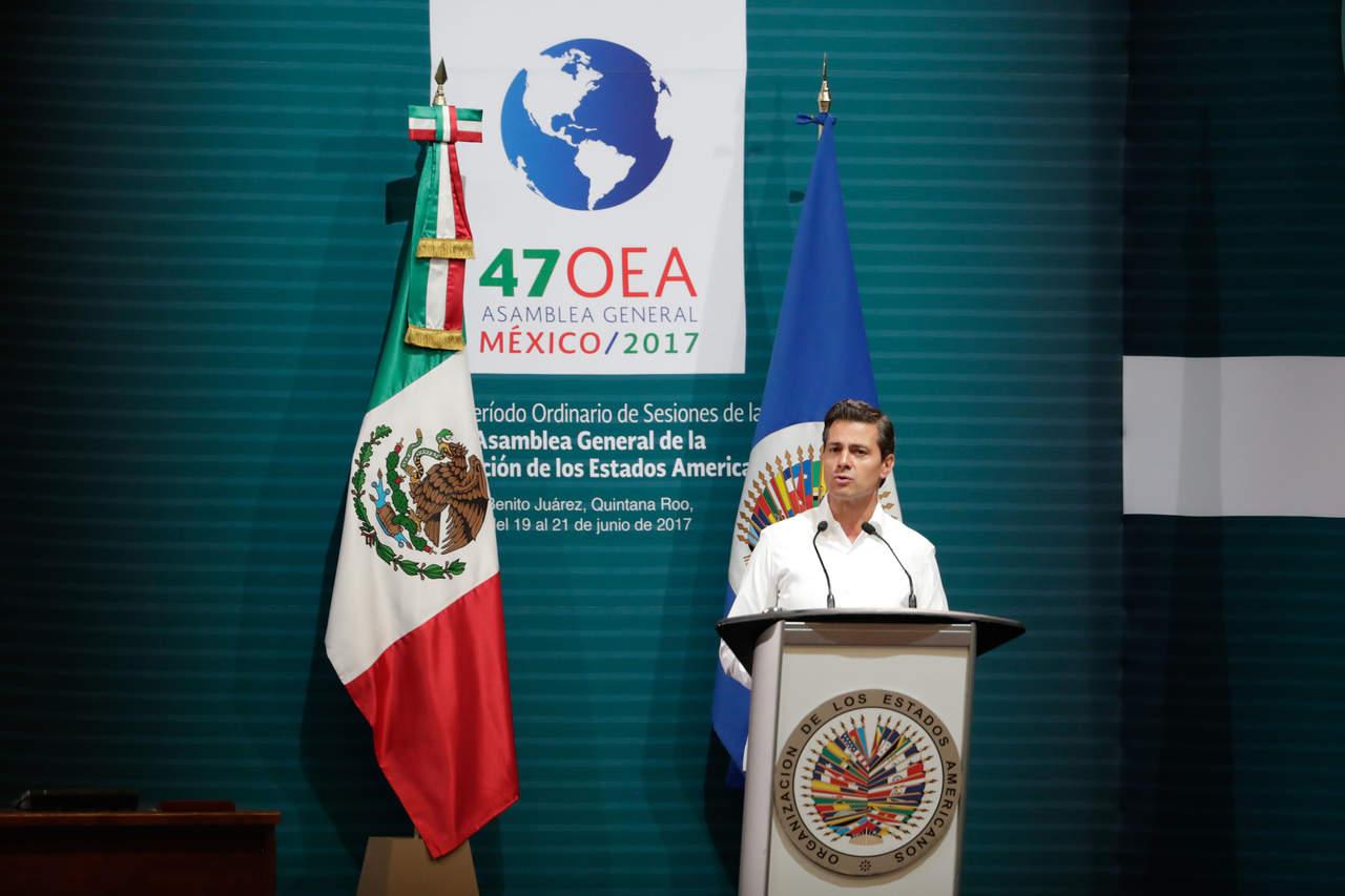 Invita EPN al diálogo al inaugurar la 47 Asamblea General de la OEA