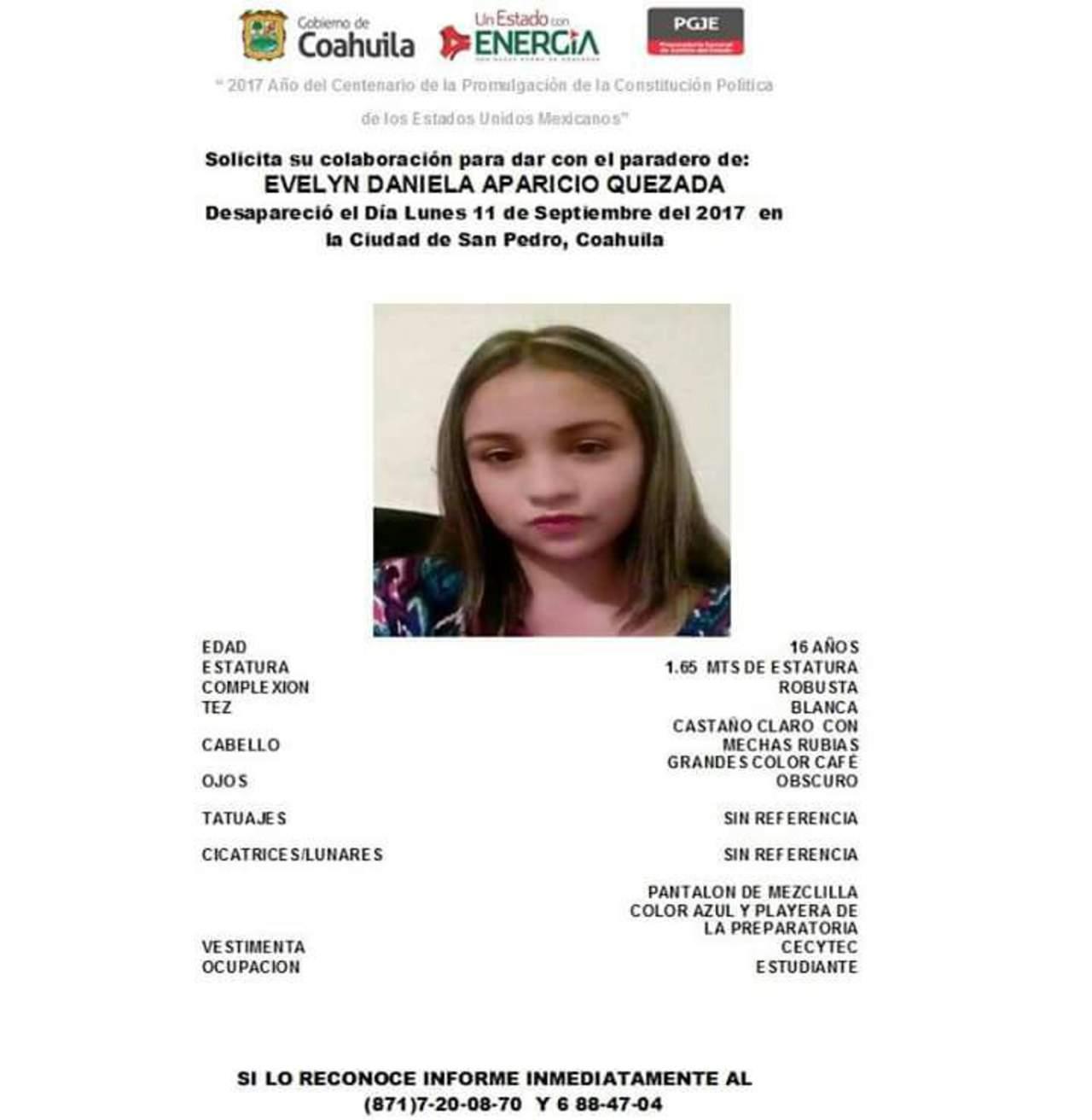 Piden ayuda para localizar a jovencita desaparecida en San Pedro
