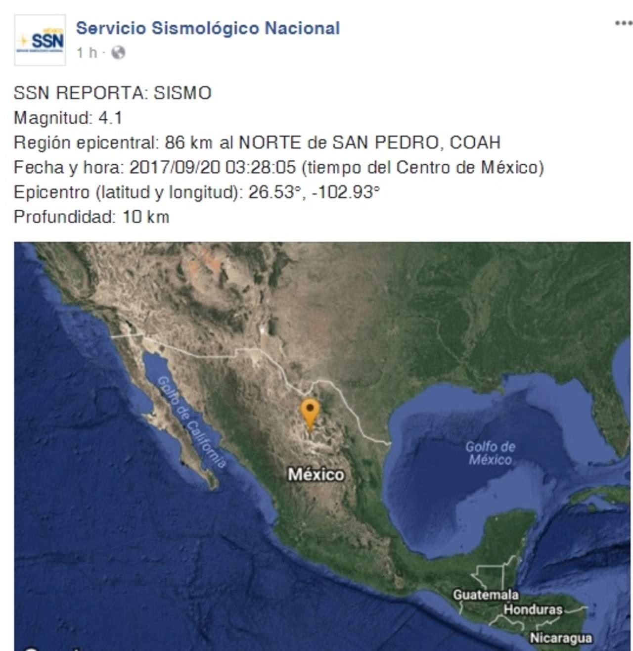 SSN registra sismo en San Pedro; no hay reporte en líneas de emergencias