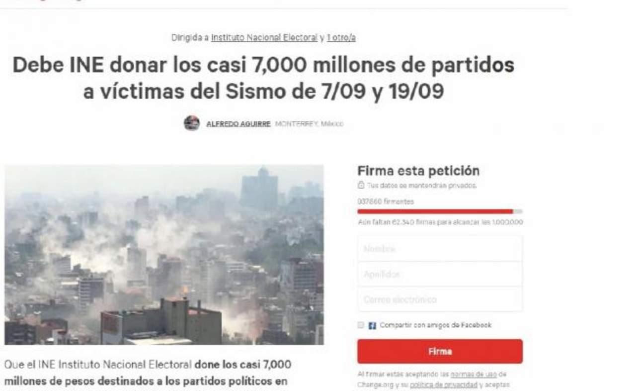 Piden a partidos políticos dar dinero a víctimas de sismo