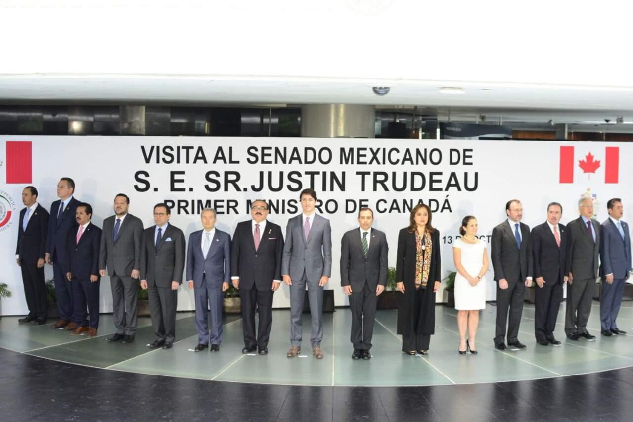 Llega Primer Ministro de Canadá al Senado Mexicano