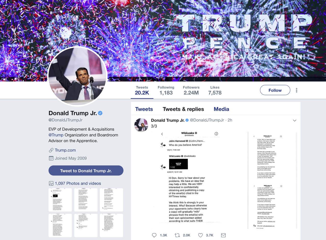 Trump Jr. intercambió mensajes con WikiLeaks