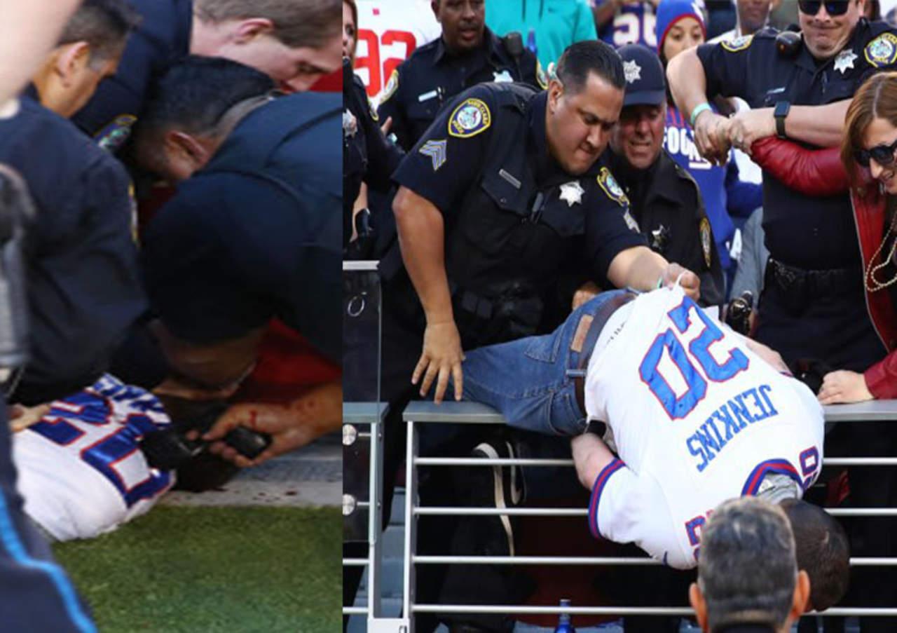 Oficiales lanzan a aficionado ebrio de las gradas y lo golpean