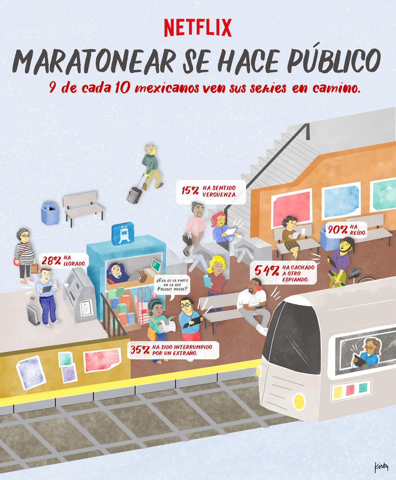 Mexicanos ven Netflix en el transporte