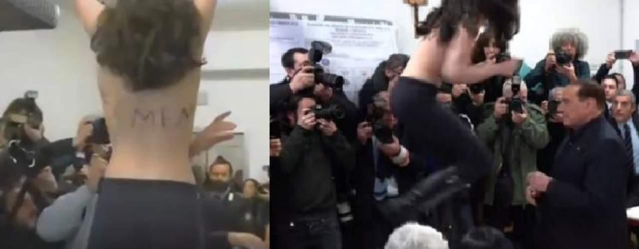 Activista en topless interrumpe durante una votación